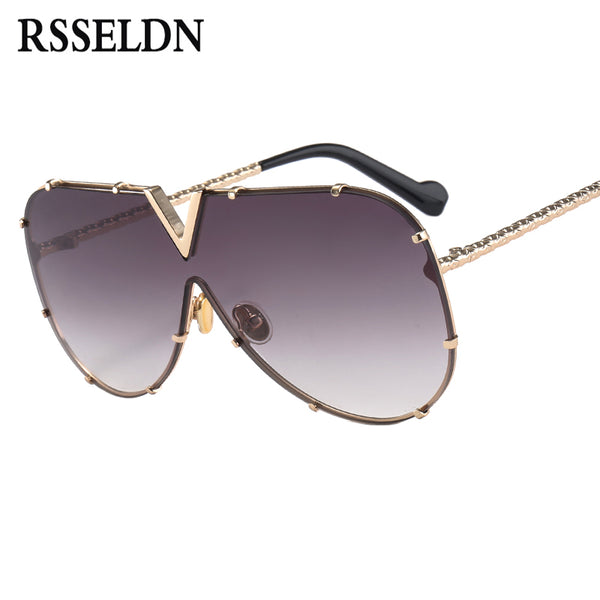 RSSELDN New 2018 One Piece Sunglasses Men Brand Designer High Quality Oversized Sunglasses For Women Sunglass Metal UV400 Mirror