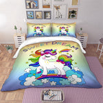 Rainbow Unicorn Bedding Set Cartoon Single Bed Duvet Cover Sweet Dream for Kids Girls 3pcs Colorful Bedclothes