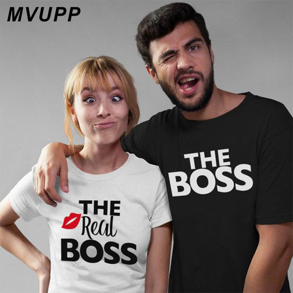 Real Boss kiss white couple tshirt for wife and husband men women clothes funny tee vegan ulzzang harajuku valentine lovers
