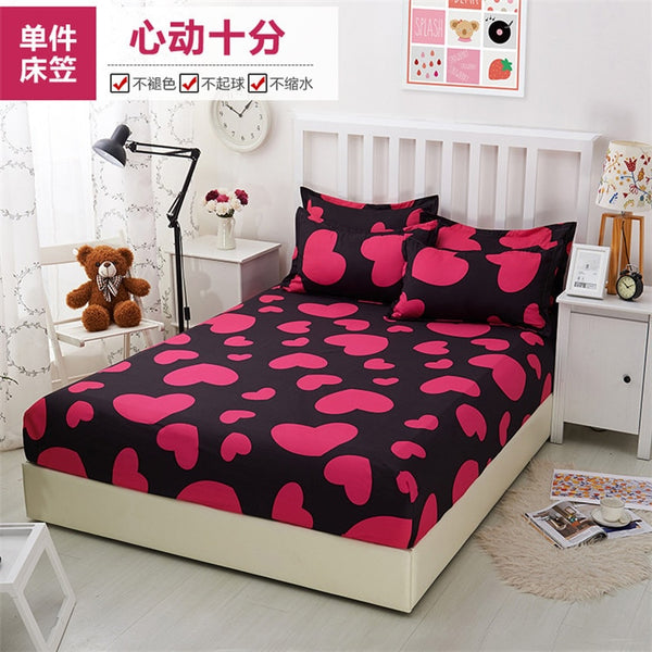 Red love Printing Fitted Sheet Mattress cotton Bedding Pillowcase/Duvet Cover/Fitted Sheet Elastic Band Twin Full Queen King