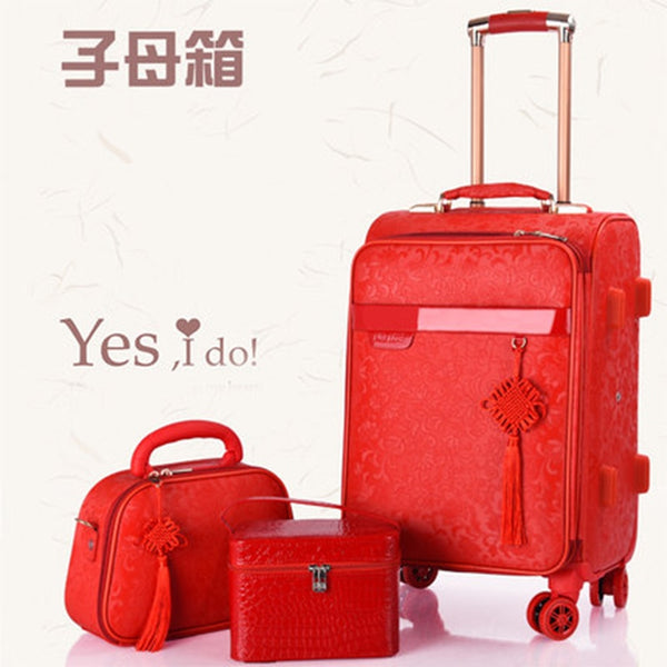 "Red suitcase wedding trolley case Woman luggage bride dowry box Classic 20""24""inch Travel Suitcase set  Spinner wheel Travel bag"