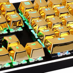 Backlit Metallic Electroplated Gold Color Keycaps for Mechanical Switch Keyboards