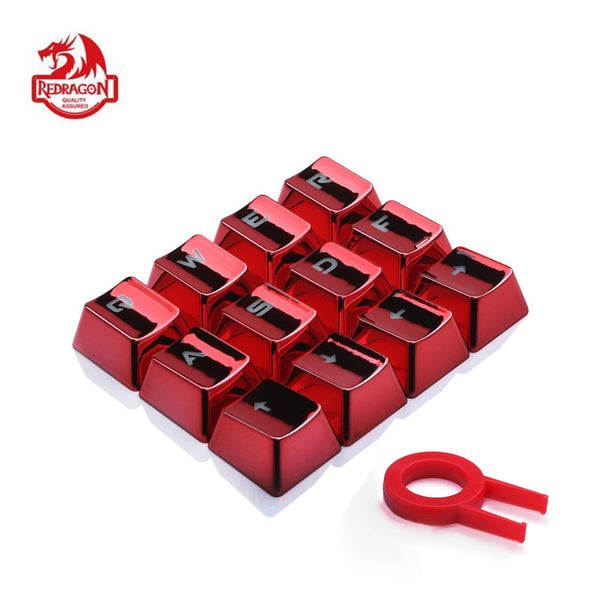 Backlit Metallic Electroplated Red for Mechanical Keyboard. keycaps set. Includes W, A, Q, R or E, S, D, F and arrow keys, and inclusive key puller.