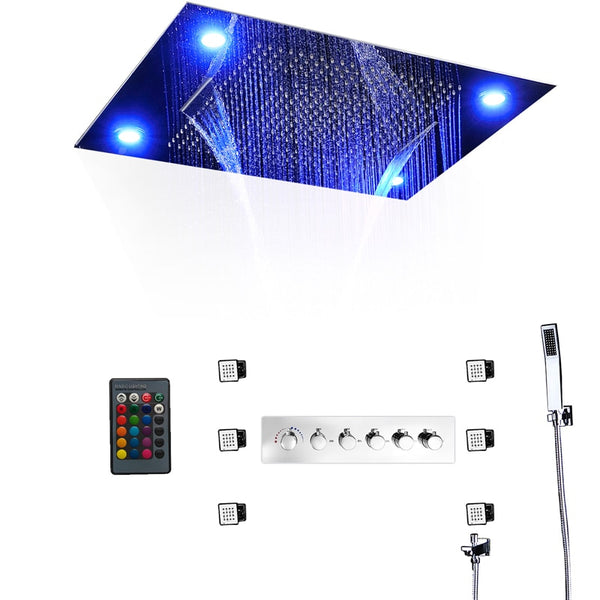 Remote Controll LED Shower System Embedded Ceiling Mounted Luxurious 60X80CM Big Shower Head with Massage Body Jet Spray