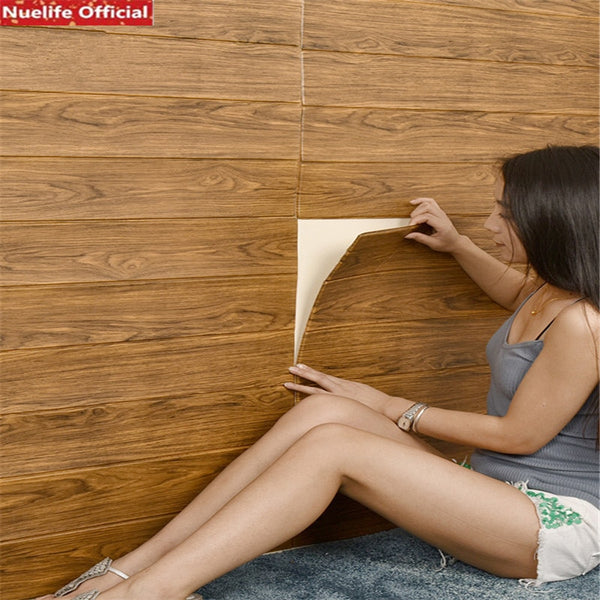 Retro wood grain board pattern 3d wall stickers waterproof foam living room bedroom kids room decoration self-adhesive wallpaper