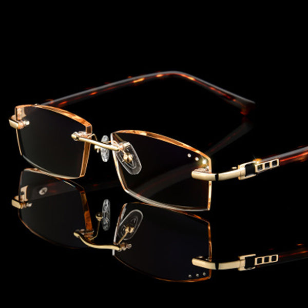 Rimless Reading Glasses Men Hyperopia Luxury Male Reader Eyeglasses Optical High Clear Crystal Man Presbyopic Brown Eye Glasses
