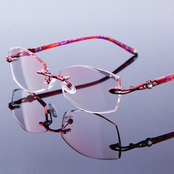 Rimless Reading Glasses Woman Rhinestone Presbyopia Eyeglasses Women's Red Frames Glasses Female Tinted Lenses Optical Hyperopia