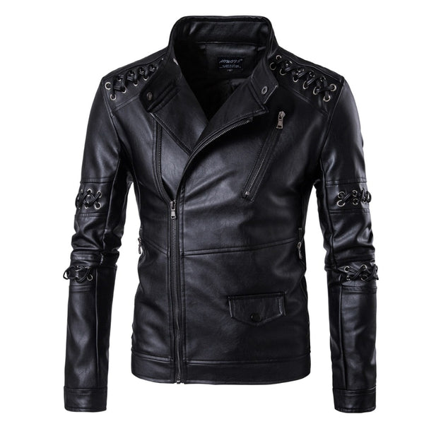 Rock costumes personalized weave diagonal zipper leather men's nightclub youth motorcycle leather jacket large size jacket