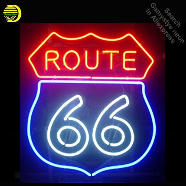 Route 66 neon Sign Road neon Real Glass Tube neon lights Recreation Sport Windows Professiona Iconic Sign Advertise Motel Sign