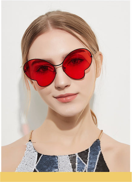 Ruosyling Heart Sunglasses Women Brown Lenses Men Italy Design Gold Frame Women Heart Sunglasses Girls Female Ladies Sun Glass