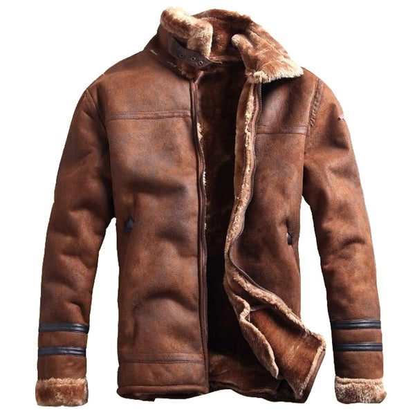 Russian Style Winter Mens Fur Faux Leather Jacket Casual Fashion Streewear Mens Faux Fur Leather Jackets Overcoat Velvet C235