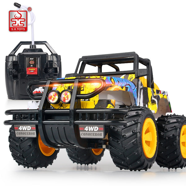S.X.TOYS 1:14 RC Car 2.4G High Speed Graffiti Cars Rock Rover Powerful Big Foot Car Radio Remote Control Off Road Vehicle Toys