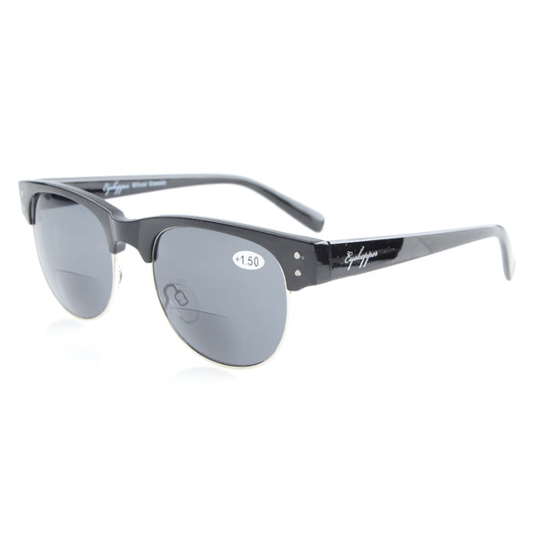 S011 Bifocal Eyekepper Retro Oval Round Half Semi-Rimless Bifocal Sunglasses Women +1.0/+1.5/+2.0/+2.5/+3.0