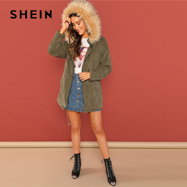 SHEIN Army Green Casual Solid Pocket Faux Fur Hooded Drawstring Waist Zipper Coat Winter Thermal Workwear Women Coat Outerwear