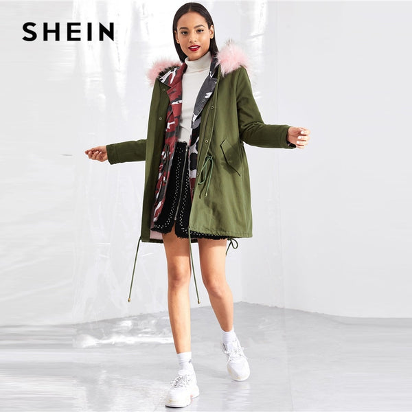 SHEIN Army Green Cotton Drawstring Detail Faux Fur Insert Coat Streetwear Coat Single Breasted Outerwear Women Winter Coats