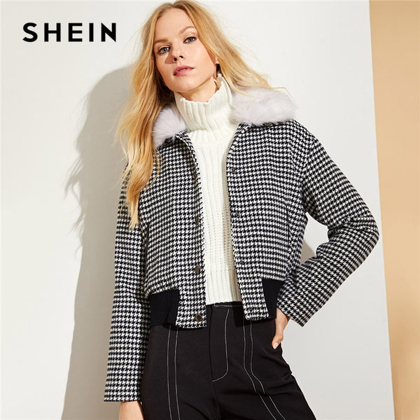 e16d9576ed SHEIN Black and White Faux Fur Collar Houndstooth Jacket Casual Single  Breasted Coats Women Autumn Streetwear