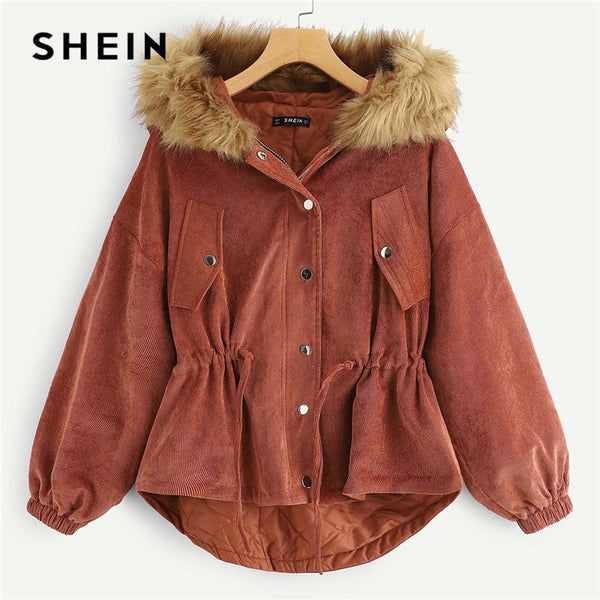 SHEIN Brown High Low Hem Faux Fur Hooded Corduroy Single Breasted Coat Autumn Workwear Modern Lady Women Coat Outerwear