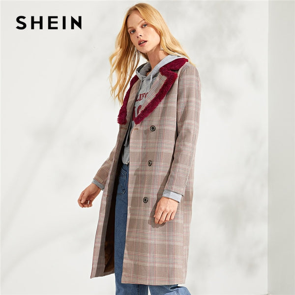 SHEIN Burgundy Elegant Office Lady Double Breasted Notched Fur Hem Neck Plaid Coat 2018 Autumn Highstreet Women Coats Outerwear