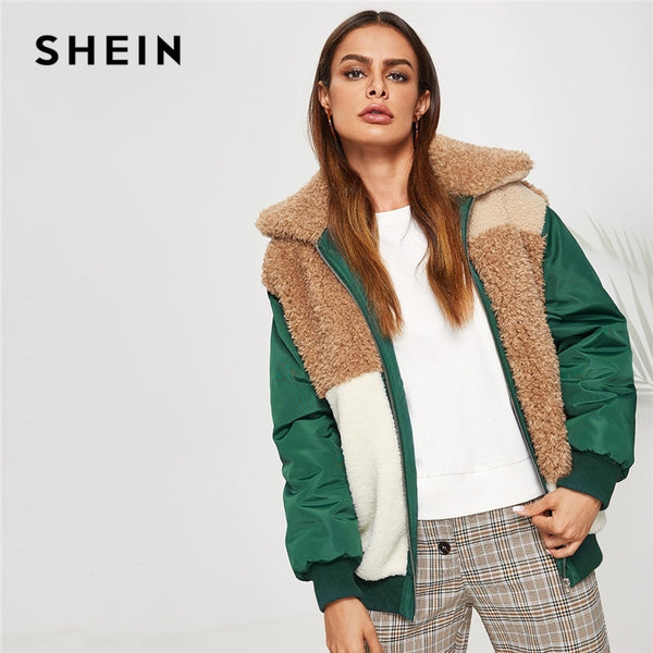 SHEIN Color Block Fleece Jacket Casual Contrast Faux Fur Zipper Up Outerwear Women Highstreet Modern Lady Autumn Jackets