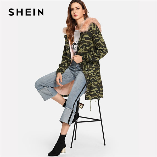 SHEIN Hooded Long Faux Fur Como Print Jacket Women Coat Casual Streetwear Long Sleeve Ladies Outwear Office Warm Winter Coats