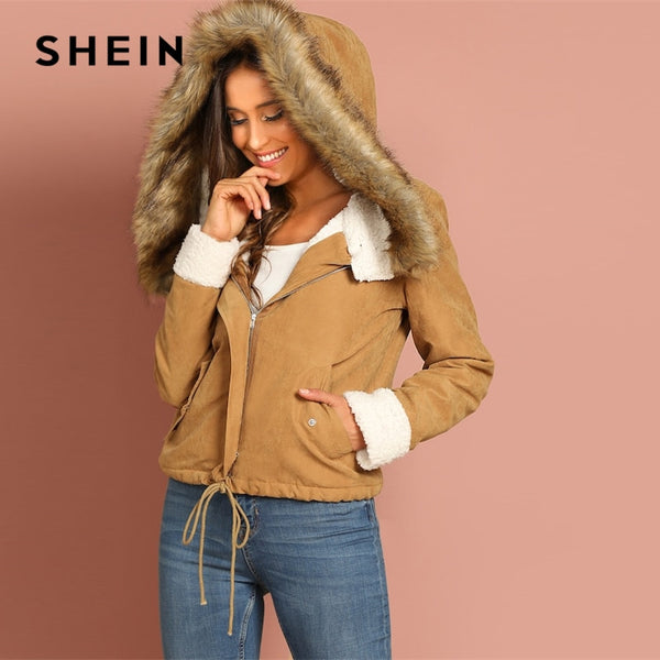 SHEIN Khaki Casual Drawstring Hem Pocket Faux Fur Zipper Up Hooded Jacket Autumn Thermal Leisure Women Coat And Outerwear