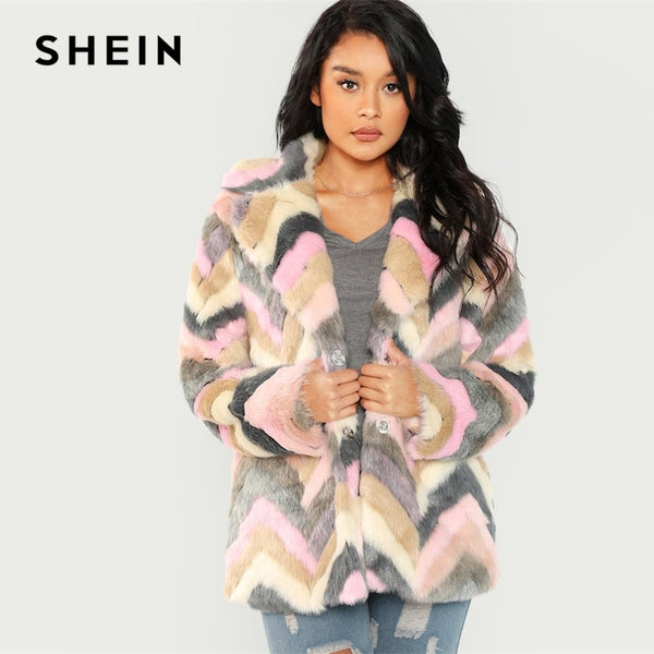 SHEIN Multicolor Casual Colorblock Faux Fur Notched Chevron Teddy Coat Autumn Modern Lady Thermal Women Coats And Outerwear