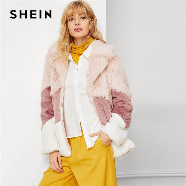 SHEIN Multicolor Elegant Office Lady Faux Fur Color Block Fashion Jacket Autumn Winter Workwear Highstreet Women Coat Outerwear