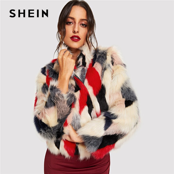 SHEIN Multicolor Highstreet Color Black Faux Fur Regular Fit Streetwear Coat Winter Modern Lady Fashion Women Coat Outerwear