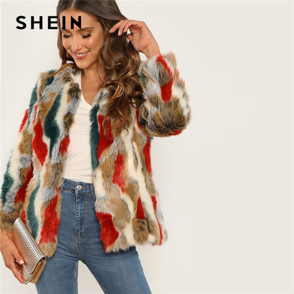 SHEIN Multicolor Highstreet Colorful Faux Fur Round Neck Short Coat 2018 Winter Party Streetwear Women Coat And Outerwear