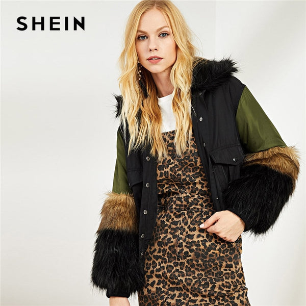 SHEIN Multicolor Streetwear Contrast Faux Fur Detail Pocket Front Women Highstreet Autumn Winter Hooded Outwear Hoodie Coat