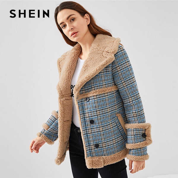 5f1468d435 SHEIN Multicolor Waterfall Collar Contrast Faux Fur Plaid Coat Casual Single  Breasted Pocket Outerwear Women Tweed