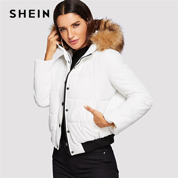 SHEIN White Elegant Padded Coat With Faux Fur Trim Hood Single Breasted Coat 2018 Autumn Casual Women Coat And Outerwear
