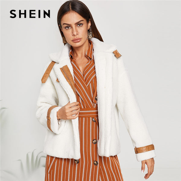SHEIN White Workwear Elegant Zip Up Faux Fur Stand Collar Solid Casual Jacket 2018 Winter Highstreet Women Coat And Outerwear
