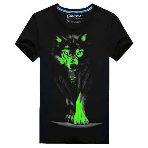 Men's Unique Cool 3D Printed Noctilucent Wolf Short-sleeved Cotton Blended T-shirt