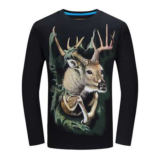 Plug Size Mens Fashion Unique 3D Deer Printing Casual Cotton Long Sleeve T-shirts