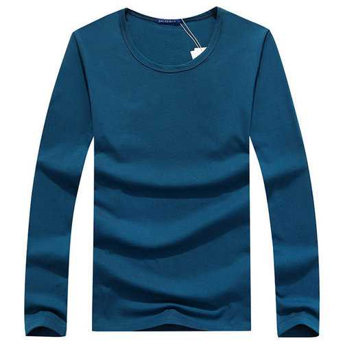 Fall Winter Mens Solid Color Base Tees Round Neck Long Sleeve T-shirts