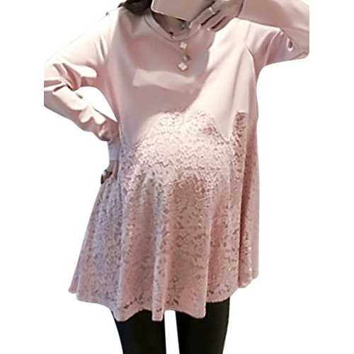 Loose Solid Lace Patchwork Long Sleeve Pregnant Women Mini Dress