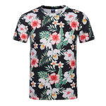Summer Casual Tee Top 3D Floral Design Round Neck Short sleeve T-shirts for Men