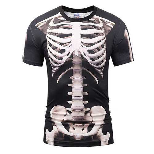 Casual Tee Top 3D Bones Round Neck Short sleeve T-shirts
