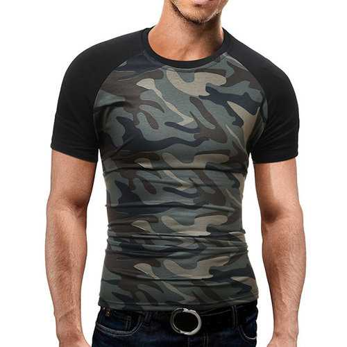 Mens Summer Cotton Camo Printed Short Sleeve O-neck Casual T-shirts