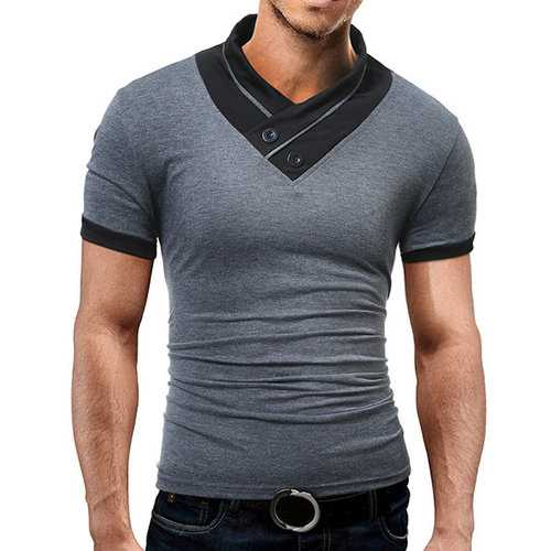 Mens Summer Casual Stand Collar Short Sleeve T-Shirts Solid Color Slim Fit Buttons Tops
