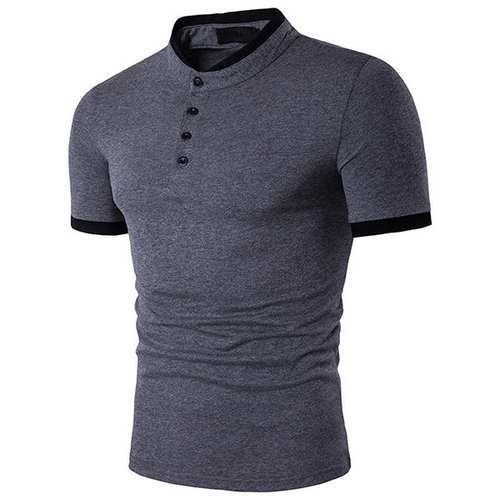 Mens Western Style Short Sleeve Turn Down Collar Solid Color T-Shirts