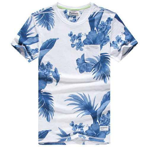 Summer Casual Cotton Tee Top Floral Printed Round Neck Short Sleeve T-shirts for Men
