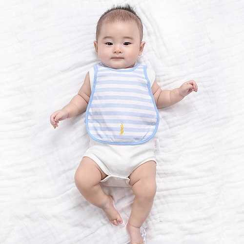 TUBENG Soft Baby Solid Striped Three-Layer Waterproof O-Neck Bib