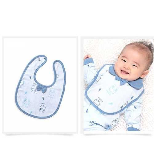 TUBENG Baby Cartoon Print Three-Layer Waterproof O-Neck Bib