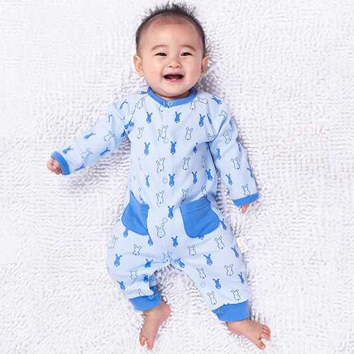 TUBENG Baby Rabbits Print Pockets Button Crawling Rompers