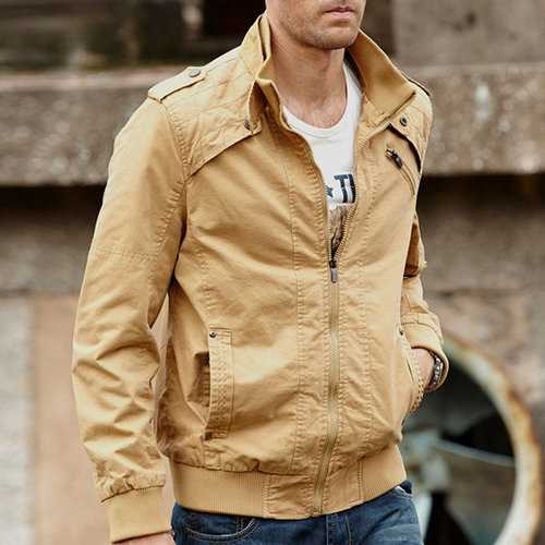 Plus Size Loose Stand Collar Outdoor Jackets for Men