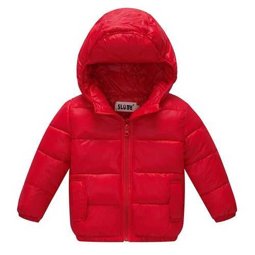 Solid Hooded Down Coat For Baby