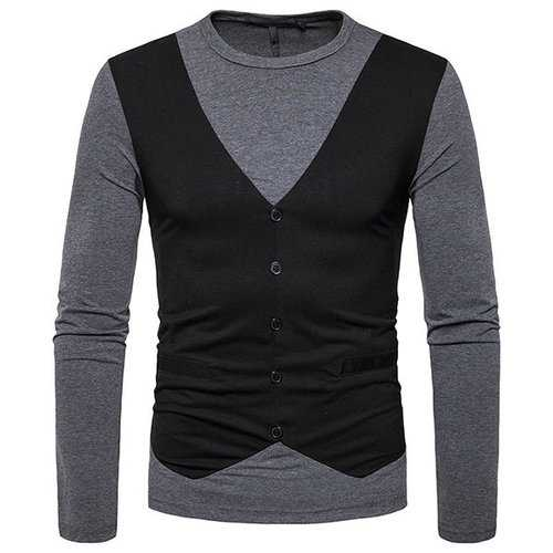 Mens False Two Pieces Button Patchwork Hit Color T-Shirts