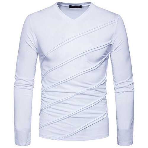 Mens Folding Design Solid Color Casual T-Shirts